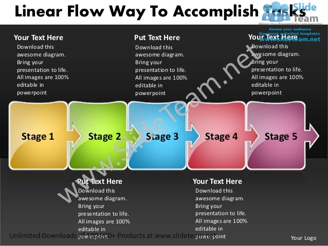 Linear Flow Way To Accomplish TasksYour Text Here                                  Put Text Here                          ...