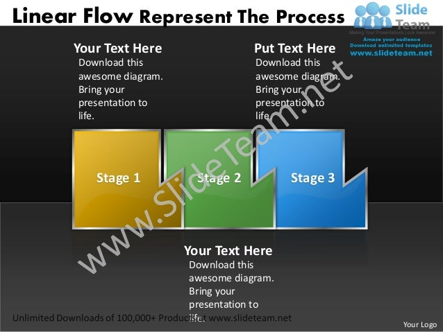 Ppt linear process flow powerpoint template represent the business te ...