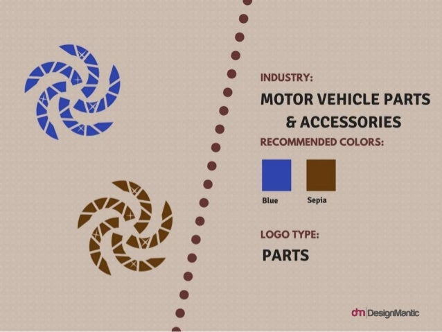Industry: Motor Vehicle Parts & Accessories Logo Type: Parts Colors: Blue, Sepia