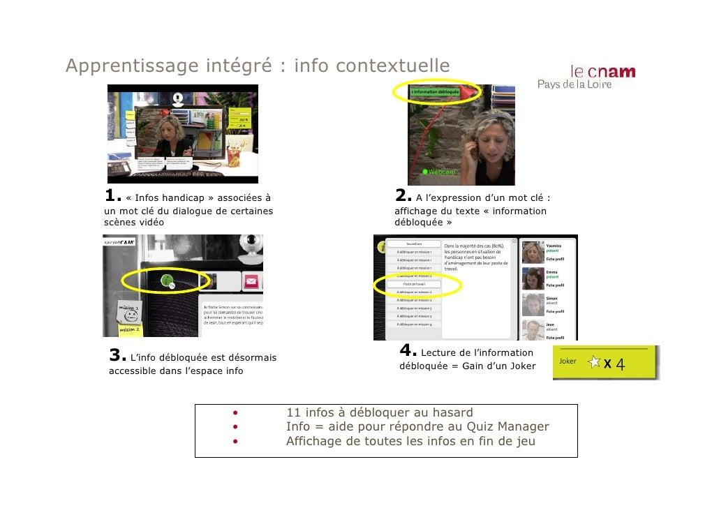 Apprentissage intégré : info contextuelle    1. « Infos handicap » associées à                      2. A l'expression d'un...