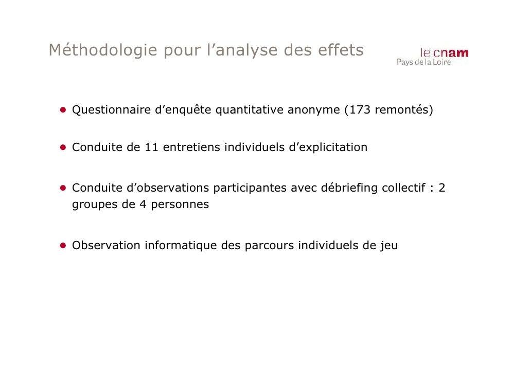 Méthodologie pour l'analyse des effets ● Questionnaire d'enquête quantitative anonyme (173 remontés) ● Conduite de 11 entr...