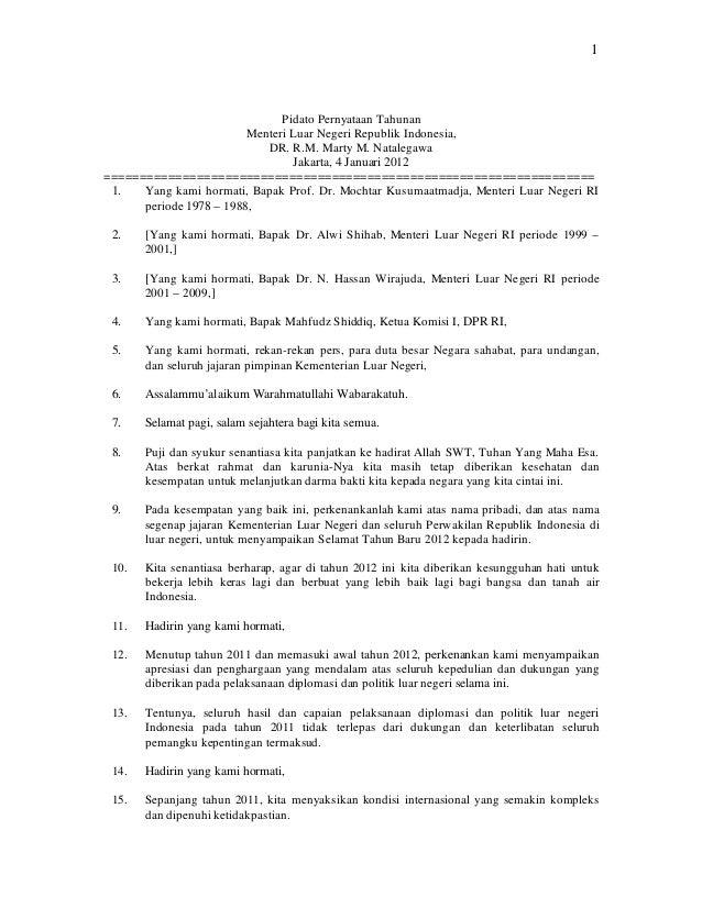 1                               Pidato Pernyataan Tahunan                         Menteri Luar Negeri Republik Indonesia, ...