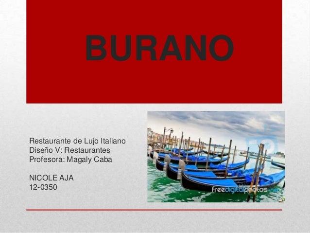 BURANO Restaurante de Lujo Italiano Diseño V: Restaurantes Profesora: Magaly Caba NICOLE AJA 12-0350