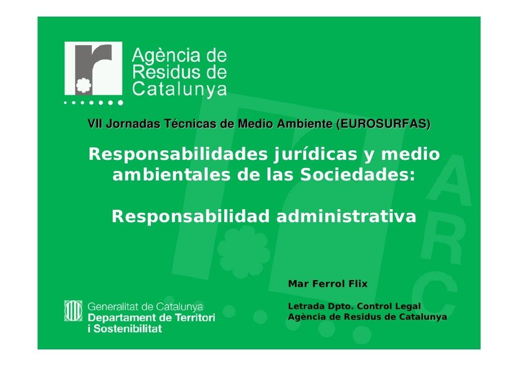 VII Jornadas Técnicas de Medio Ambiente (EUROSURFAS)Responsabilidades jurídicas y medio  ambientales de las Sociedades:   ...