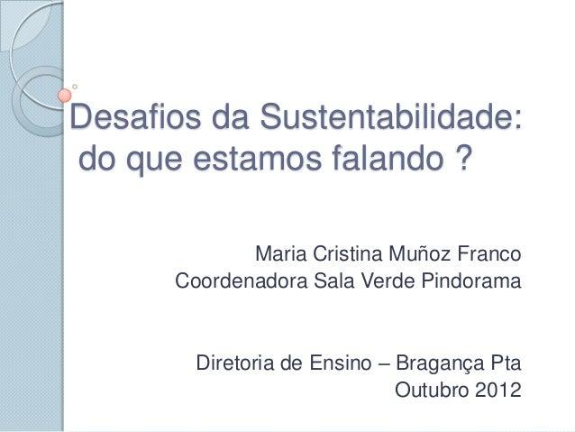 Desafios da Sustentabilidade:do que estamos falando ?             Maria Cristina Muñoz Franco      Coordenadora Sala Verde...