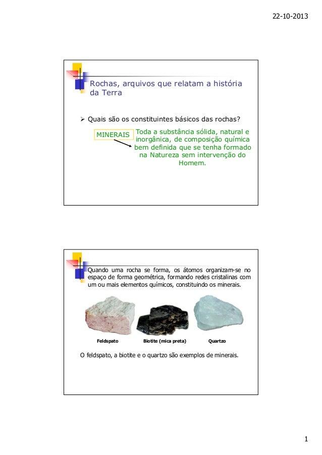 22-10-2013  Rochas, arquivos que relatam a história da Terra  Quais são os constituintes básicos das rochas? MINERAIS  Tod...
