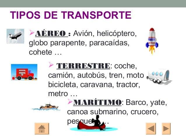 TIPOS DE TRANSPORTE  AÉREO : Avión, helicóptero,  globo parapente, paracaídas,  cohete …       TERRESTRE: coche,      ca...