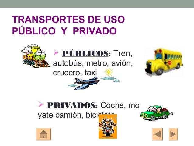 TRANSPORTES DE USOPÚBLICO Y PRIVADO        PÚBLICOS: Tren,       autobús, metro, avión,       crucero, taxi     PRIVADOS...