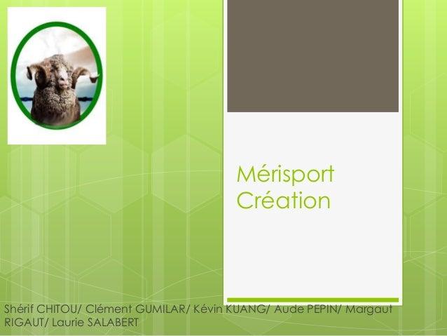 Mérisport Création  Shérif CHITOU/ Clément GUMILAR/ Kévin KUANG/ Aude PEPIN/ Margaut RIGAUT/ Laurie SALABERT