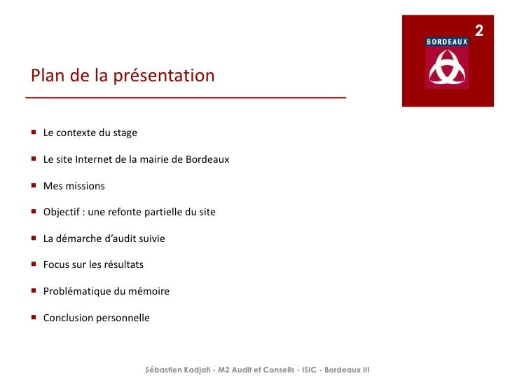 Ppt mémoire stage   mairie de bordeaux- skadjati M2 audit_isic 2009-2010 Slide 2