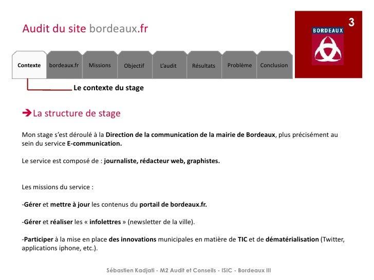 Ppt mémoire stage   mairie de bordeaux- skadjati M2 audit_isic 2009-2010 Slide 3