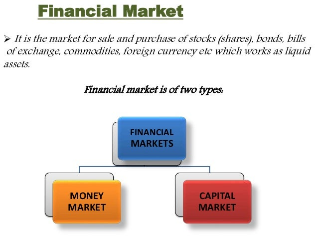 Financial Market   It is the market for sale and purchase of stocks (shares), bonds, bills  of exchange, commodities, for...