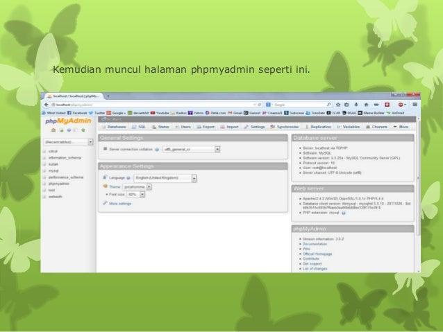 Kemudian muncul halaman phpmyadmin seperti ini.