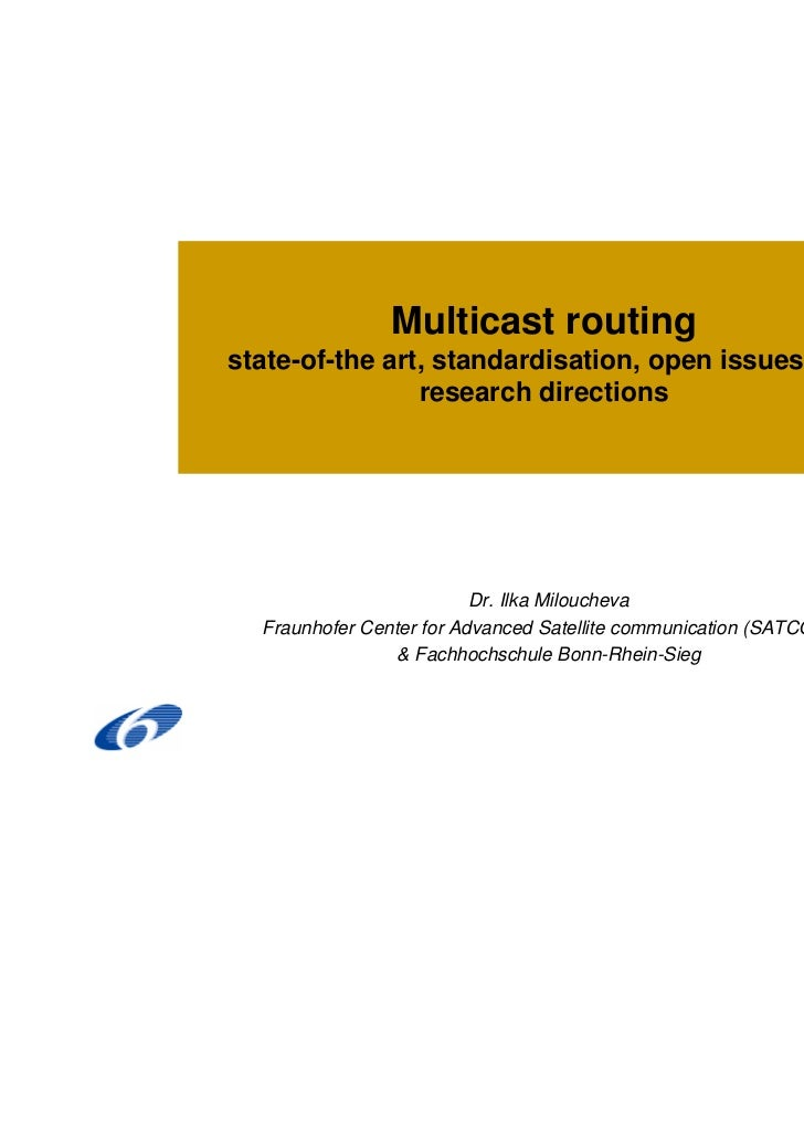 Multicast routingstate-of-the art, standardisation, open issues and                research directions                    ...