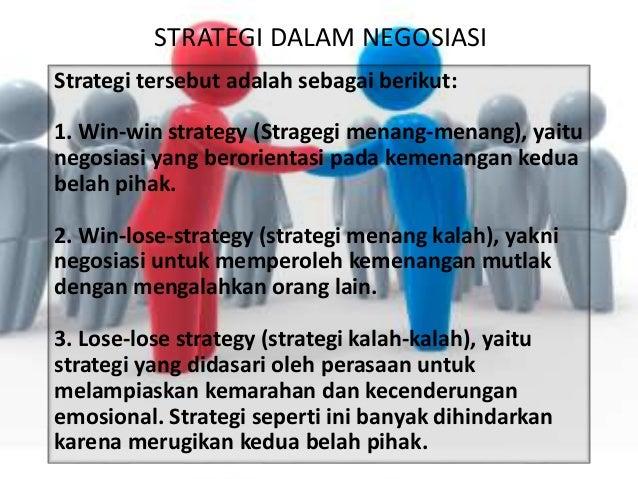 STRATEGI DALAM NEGOSIASI Strategi tersebut adalah sebagai berikut: 1. Win-win strategy (Stragegi menang-menang), yaitu neg...