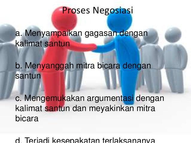 Proses Negosiasi a. Menyampaikan gagasan dengan kalimat santun b. Menyanggah mitra bicara dengan santun c. Mengemukakan ar...
