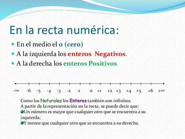 En la recta numérica:  En el medio el 0 (cero)  A la izquierda los enteros Negativos.  A la derecha los enteros Positiv...
