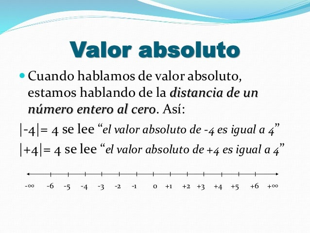 Valor absoluto  Cuando hablamos de valor absoluto, estamos hablando de la distancia de un número entero al cero. Así: |-4...