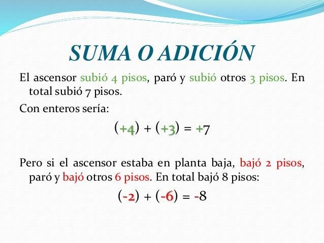SUMA O ADICIÓN El ascensor subió 4 pisos, paró y subió otros 3 pisos. En total subió 7 pisos. Con enteros sería: (+4) + (+...