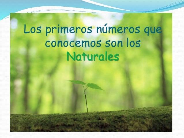 Los primeros números que conocemos son los Naturales