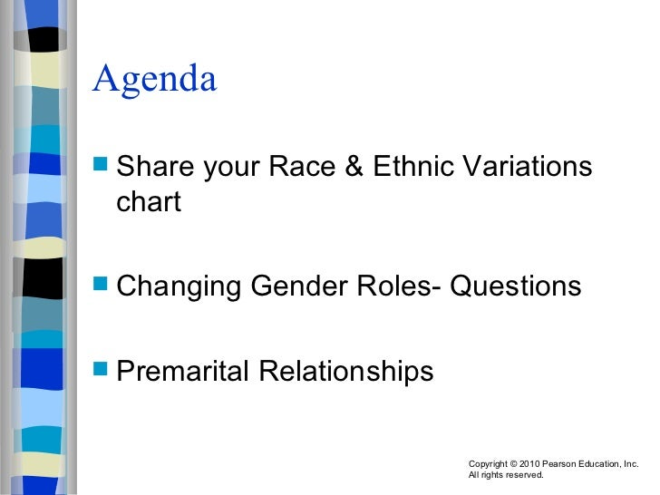 Agenda <ul><li>Share your Race & Ethnic Variations chart </li></ul><ul><li>Changing Gender Roles- Questions </li></ul><ul>...