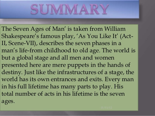 william shakespeare seven ages of man essay Richard kindersley's sculpture the seven ages of man in london all the  world's a stage is the phrase that begins a monologue from william  shakespeare's as.