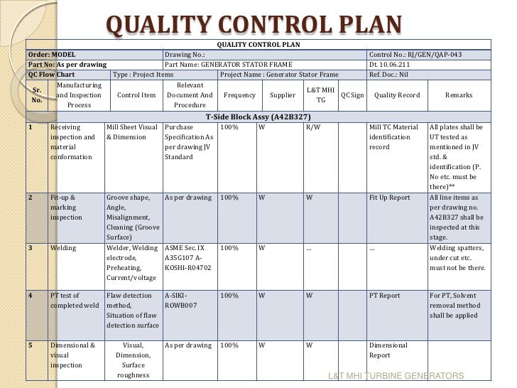 quality control plan template for manufacturing - foram