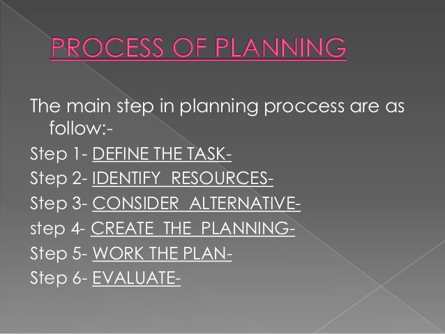 The main step in planning proccess are as  follow:-Step 1- DEFINE THE TASK-Step 2- IDENTIFY RESOURCES-Step 3- CONSIDER ALT...