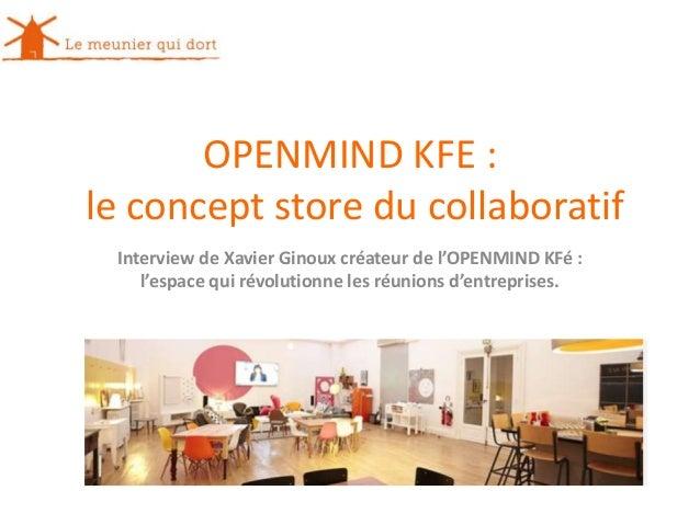 OPENMIND KFE : le concept store du collaboratif Interview de Xavier Ginoux créateur de l'OPENMIND KFé : l'espace qui révol...