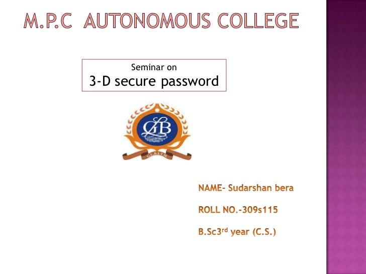 Seminar on3-D secure password