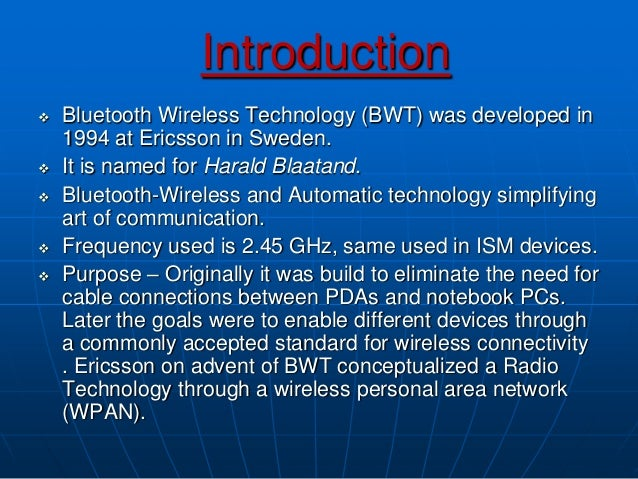 Short essay on Bluetooth