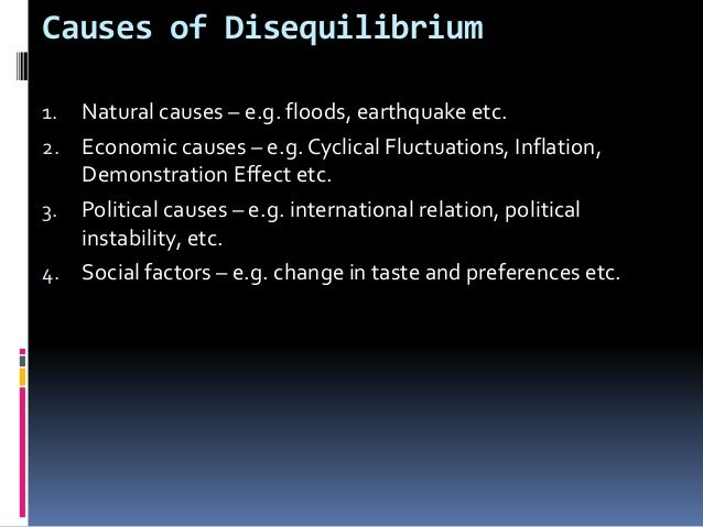 Causes of Disequilibrium Natural causes – e.g. floods, earthquake etc. 2. Economic causes – e.g. Cyclical Fluctuations, In...