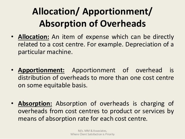ACCA F2 Revision part 2 Overhead Allocation, Apportionment, Absorption and Allocation