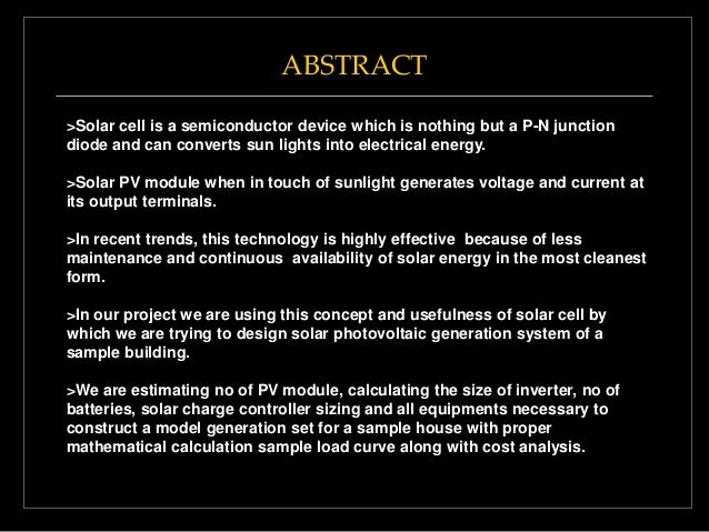 Ppt On Design Of Solar Photovoltaic Generation For Residential Buildi