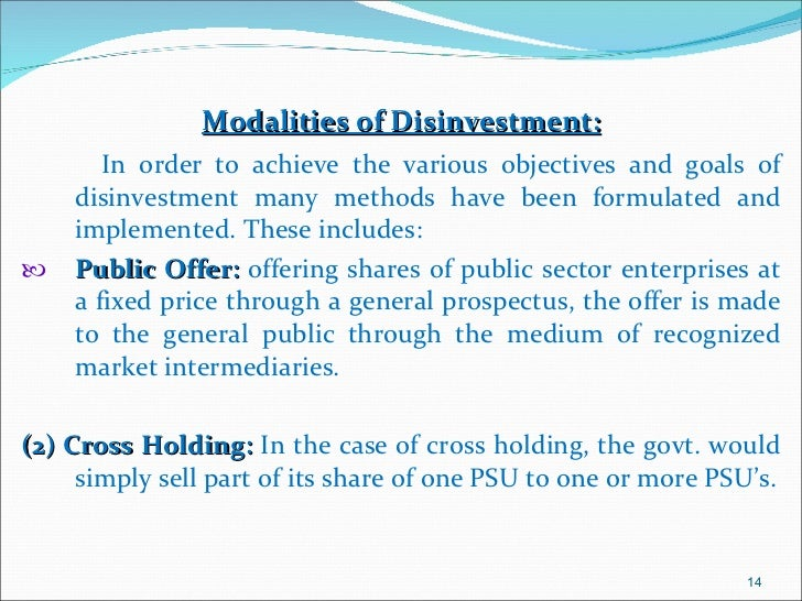 Disinvestment in 4 psusd investment banking and structured finance modeling