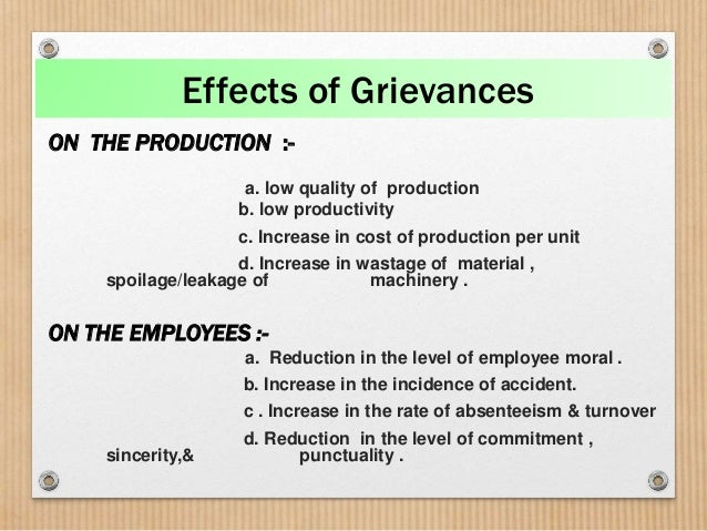 The basic facts about grievances