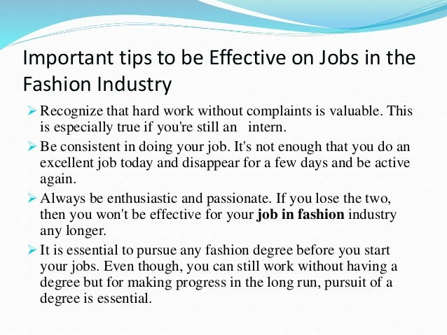 Jobs In Fashion Industry Without A Degree
