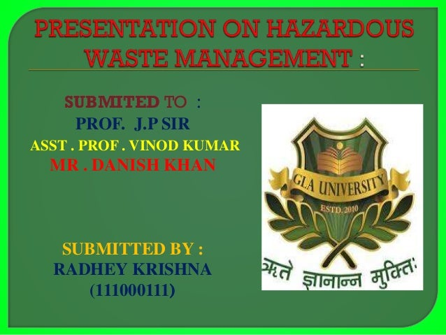 Ppt On Hazardous Waste Management