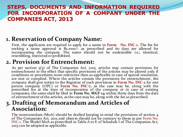 define memorandum of incorporation