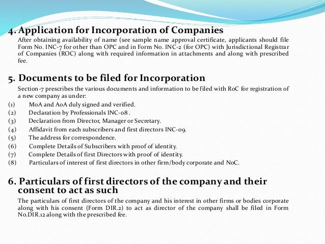 formation of a company under companies Been printed, dated and signed by the applicants and are attached to this  application  company's pin on itax and receive official communication from  kra.