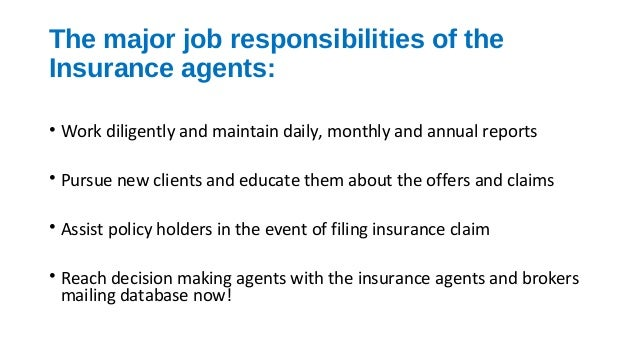 Insurance Agents, Brokers job responsibilities and insurance agents e…