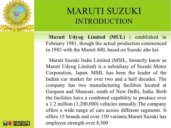 Maruti Suzuki Presentation Round