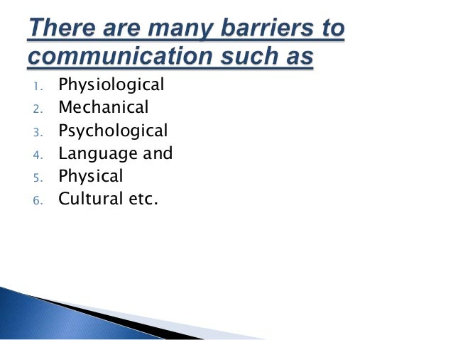 physical barriers of communication