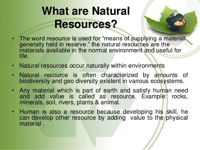 Natural Resources Definition And Classification