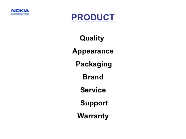 PRODUCT Quality  Appearance Packaging Brand Service Support Warranty