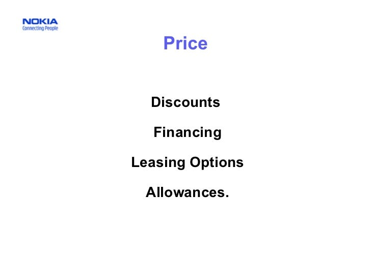 Price Discounts Financing Leasing Options Allowances.