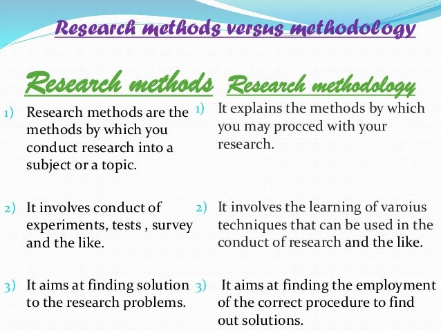 Research method vs research methodology