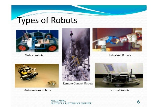 Types of Robots Mobile Robots Industrial Robots 6 Mobile Robots Industrial Robots Autonomous Robots Remote Control Robots ...