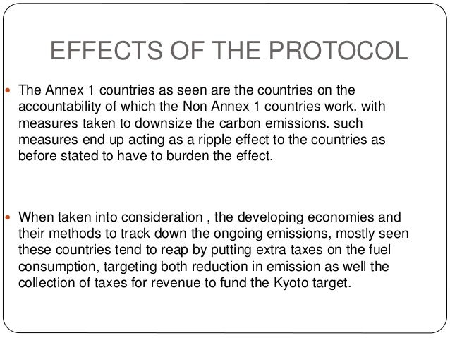 the kyoto protocol parties under the kyoto protocol annexure 1 parties non annex 1 parties 4