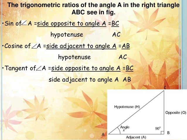 The trigonometric ratios of the angle A in the right triangle ABC see in fig. •Sin of A =side opposite to angle A =BC hypo...